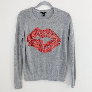 H&M Gray Crew Neck Sweater Red Sequin Lips Size XS